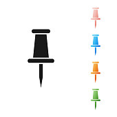 Black Push pin icon isolated on white background. Thumbtacks sign. Set icons colorful. Vector Illustration