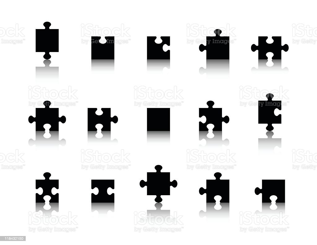 Black puzzle pieces with their reflection vector art illustration
