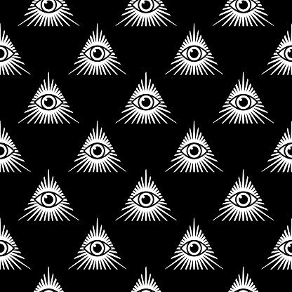 Black Pyramid Eye Seamless Pattern