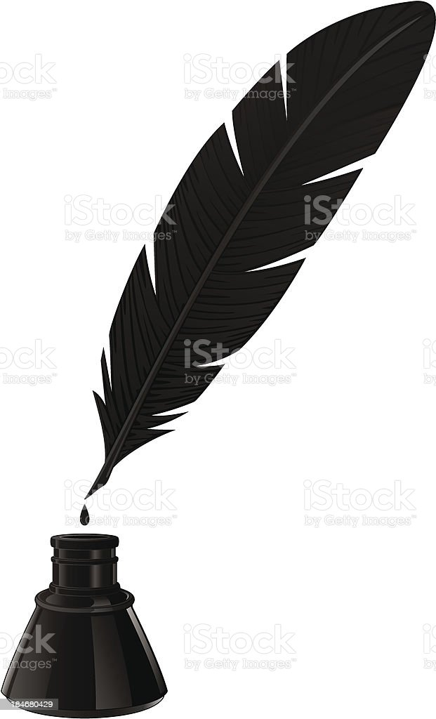 Black Quill And Ink Well On White Background Stock Vector ...