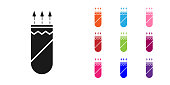 Black Quiver with arrows icon isolated on white background. Set icons colorful. Vector Illustration