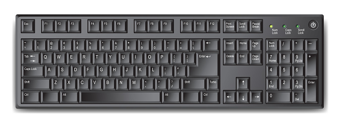 Black Qwerty Keyboard With Us English Layout Stock Vector ...