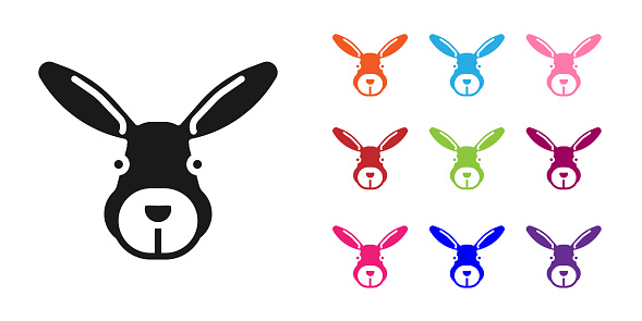 Black Rabbit head icon isolated on white background. Set icons colorful. Vector