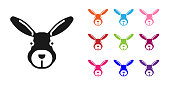 Black Rabbit head icon isolated on white background. Set icons colorful. Vector.