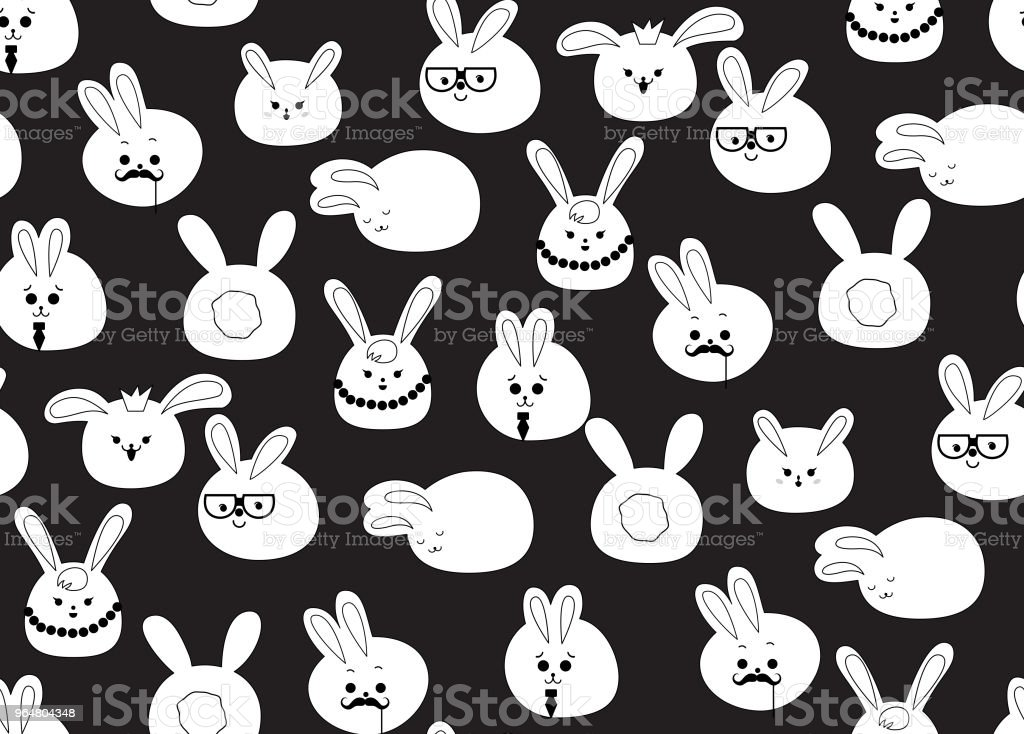 Black rabbit pattern royalty-free black rabbit pattern stock vector art & more images of animal
