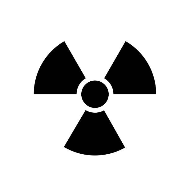 illustrazioni stock, clip art, cartoni animati e icone di tendenza di black radiation icon vector. warning radioactive sign danger symbol. - deadly sings