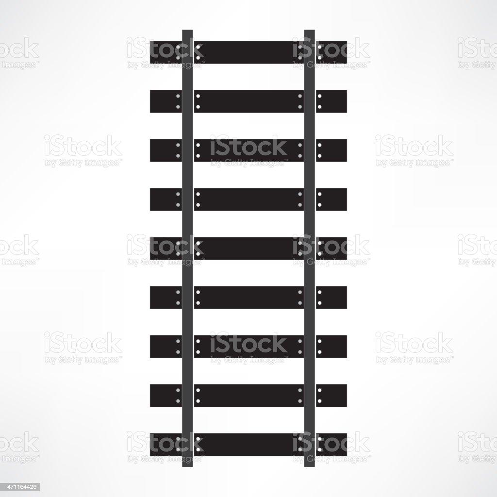 Black railroad tracks isolated on white vector art illustration