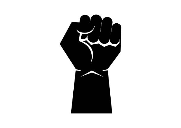 Black raised hand with clenched fist icon vector African american fist icon isolated on a white background. Black clenched fist icon. Fist raised in protest vector. Raised hand silhouette vector civil rights stock illustrations