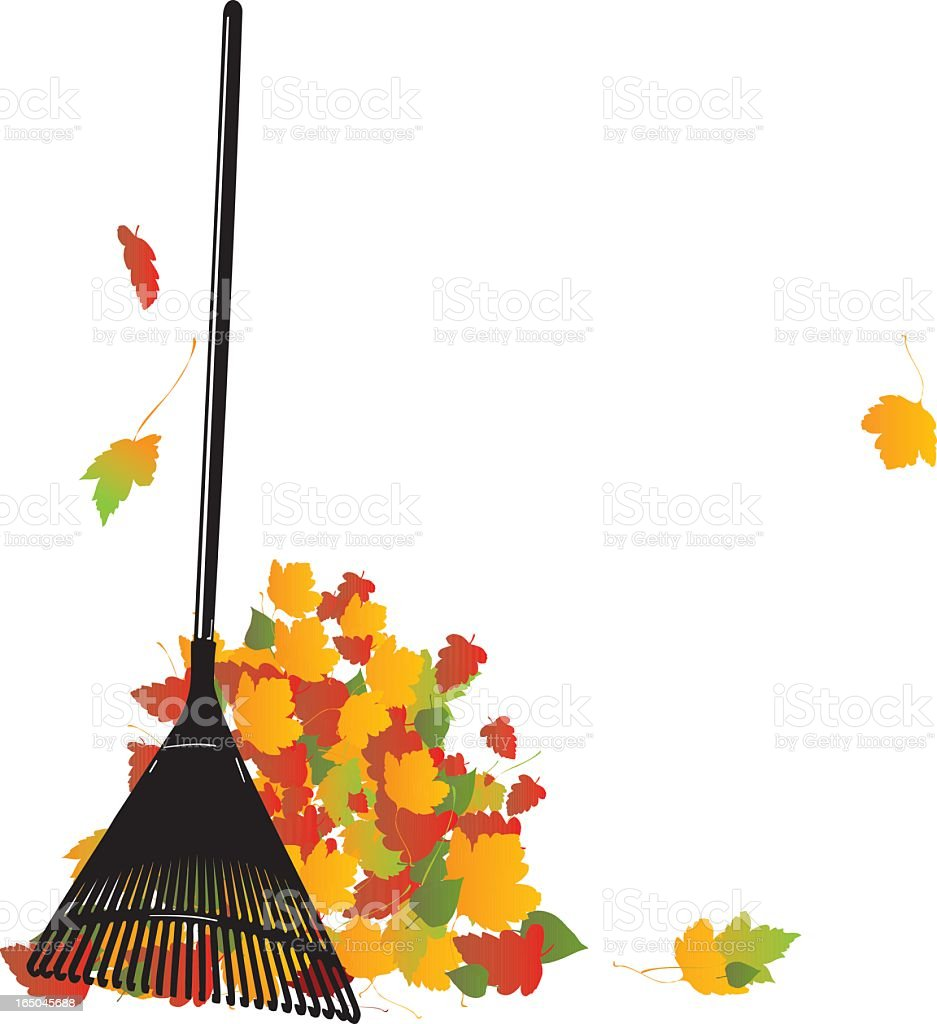 A black rake with colorful autumn leaves vector art illustration