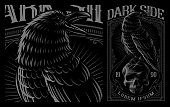 Black Raven on the skull. Vector illustration of print for the shirts on the dark background. Layered, text is on the separate group.