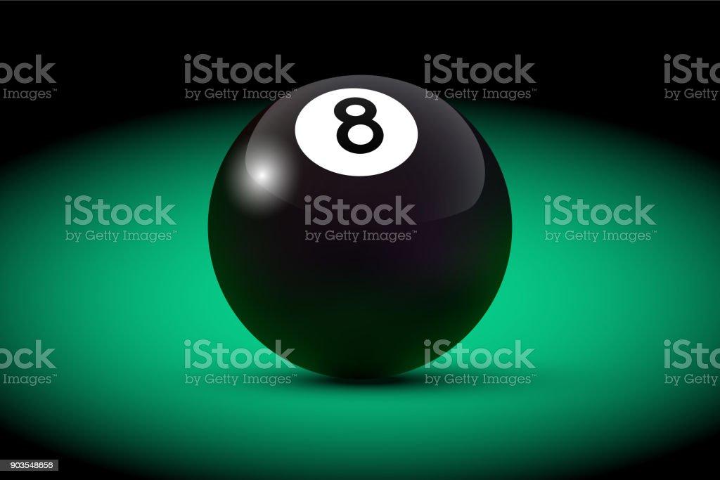 Black realistic billiard eight ball on green table. Vector billiard illustration. vector art illustration