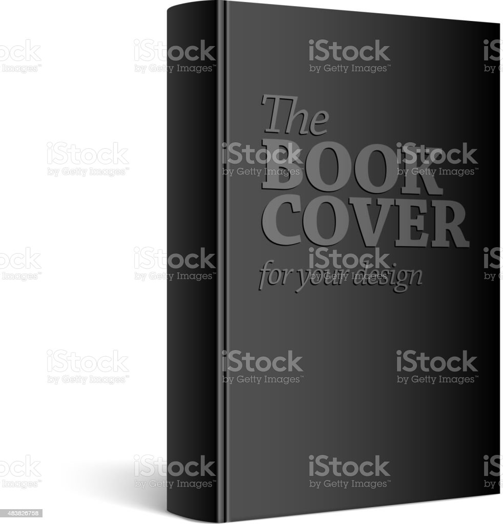 Black Realistic Blank book cover vector art illustration