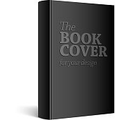 Black Realistic Blank book cover
