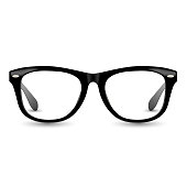 Black realistic glasses frame illustration. Eyeglasses retro style vector with drop shadow.