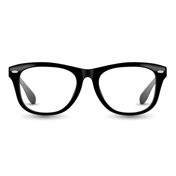 black realistic glasses frame illustration. eyeglasses retro style vector with drop shadow. - okulary stock illustrations