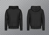 Black realistic men hoodie