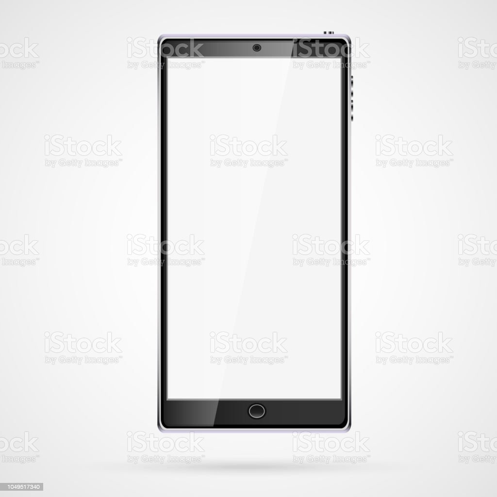 Black realistic mobile smart touch smart slim mobile phone, smartphone with glossy blank screen isolated on white background. Vector vector art illustration