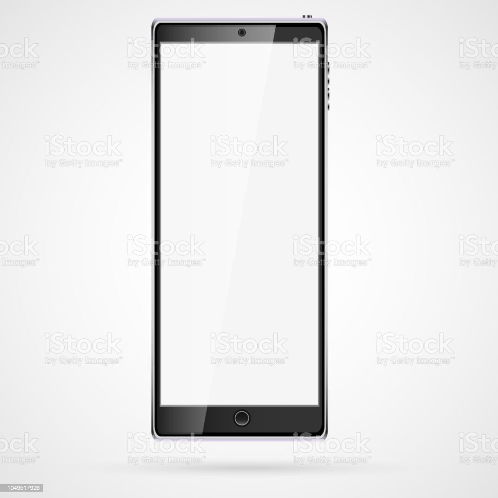 Black realistic mobile smart touch stretched thin mobile phone, smartphone with glossy blank screen with copy space isolated on white background. Vector vector art illustration