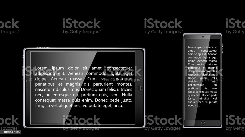 Black realistic mobile touch smart tablet computer and mobile phone, smartphone with black glossy blank screen with sample text isolated on black background. Vector vector art illustration