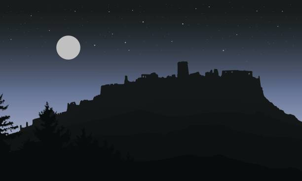 Black realistic silhouette of the ruins of a medieval castle built on a hill under the night sky with a full moon and stars for Halloween, isolated in layers - vector Black realistic silhouette of the ruins of a medieval castle built on a hill under the night sky with a full moon and stars for Halloween, isolated in layers - vector scary halloween scene silhouettes stock illustrations