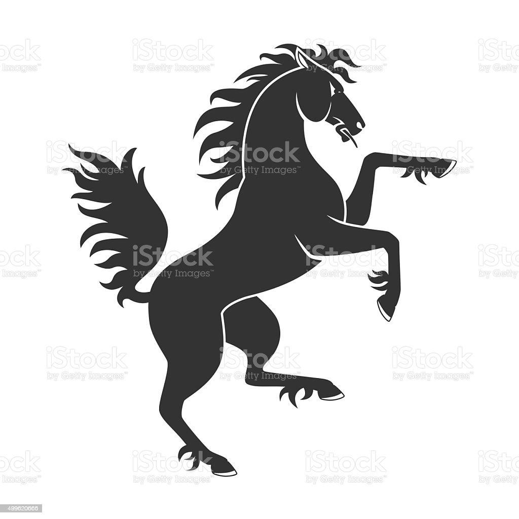 Black Rearing Horse vector art illustration