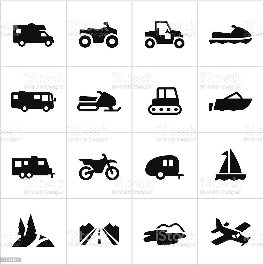 Black Recreational Vehicle Icons royalty-free stock vector art