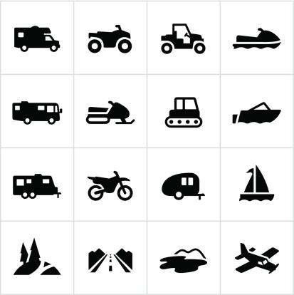 Black Recreational Vehicle Icons