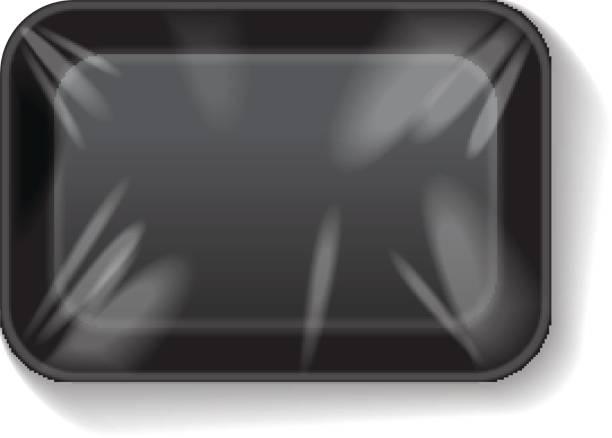 schwarzes rechteck leer styropor kunststoff-lebensmittel-fach-behälter. vektor mock-up vorlage - plastikhülle stock-grafiken, -clipart, -cartoons und -symbole