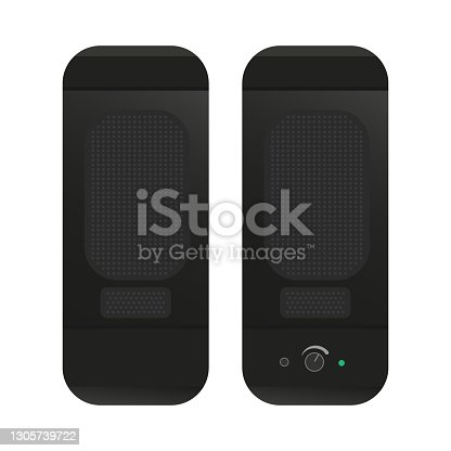istock Black rectangular computer speakers. Desktop compact speakers with volume control and power indicator. Flat vector illustration 1305739722