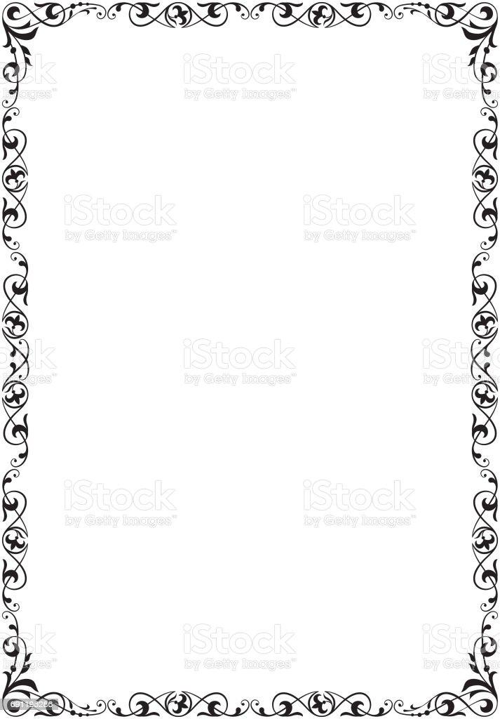 Siyah Dikdortgen Suslu Cerceve Sayfa Dekorasyon A4 Sayfa Oranlar