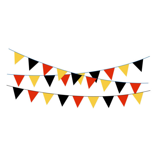black, red, and gold bunting banners - streamer stock illustrations, clip art, cartoons, & icons