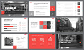 Black, red, and white infographic elements for presentation slide templates. Business concept can be used for annual report, trade flyer and banner