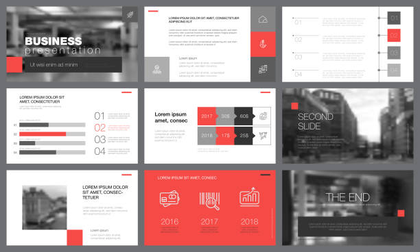 Black, red, and white elements for slide templates Black, red, and white infographic elements for presentation slide templates. Business concept can be used for annual report, trade flyer and banner awards ceremony stock illustrations