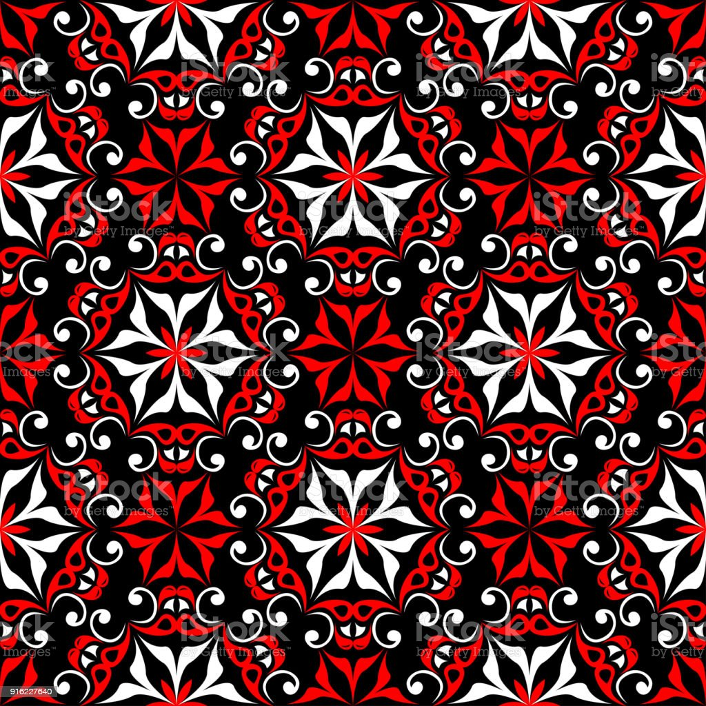 Black Red And White Floral Seamless Pattern Wallpaper Background Royalty Free