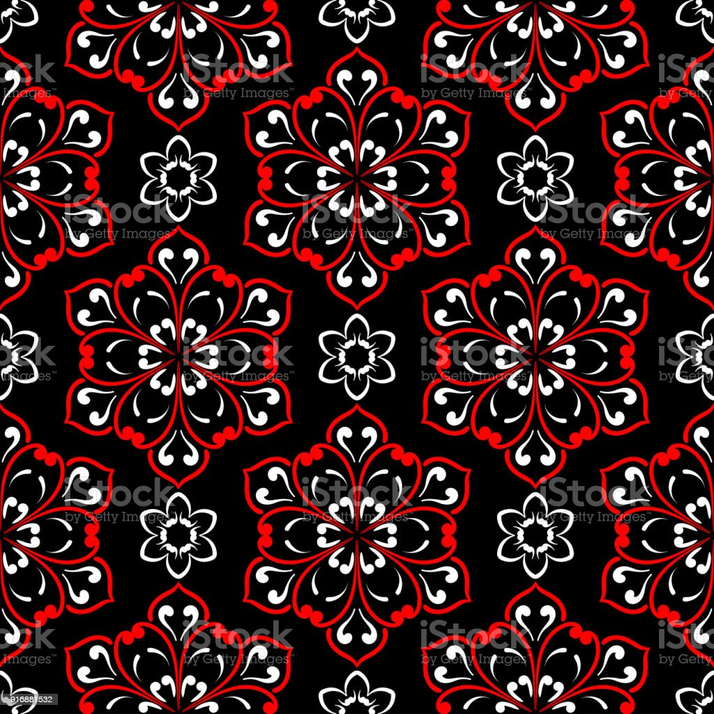 Black Red And White Floral Seamless Pattern Wallpaper Background