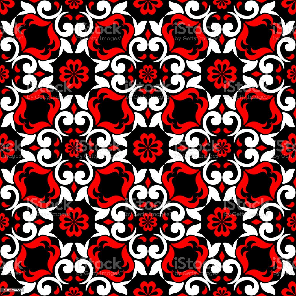 Black Red And White Floral Seamless Pattern Wallpaper