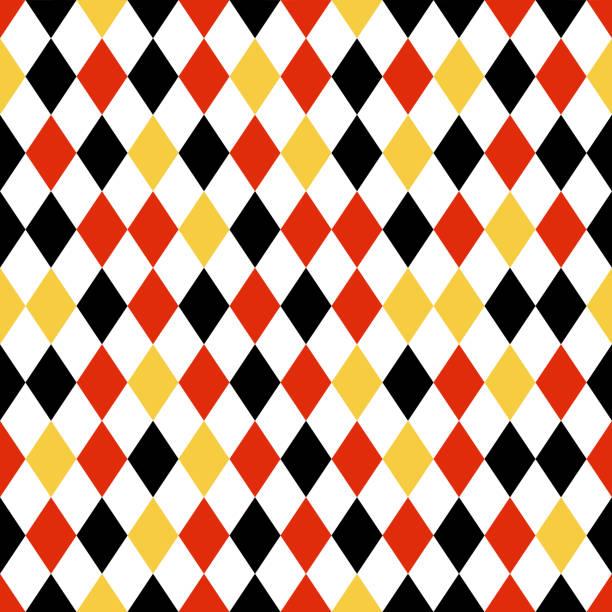 stockillustraties, clipart, cartoons en iconen met zwart, rood en geel diamond naadloze patroon - duitse cultuur