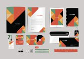 black, red, green with triangle corporate identity template