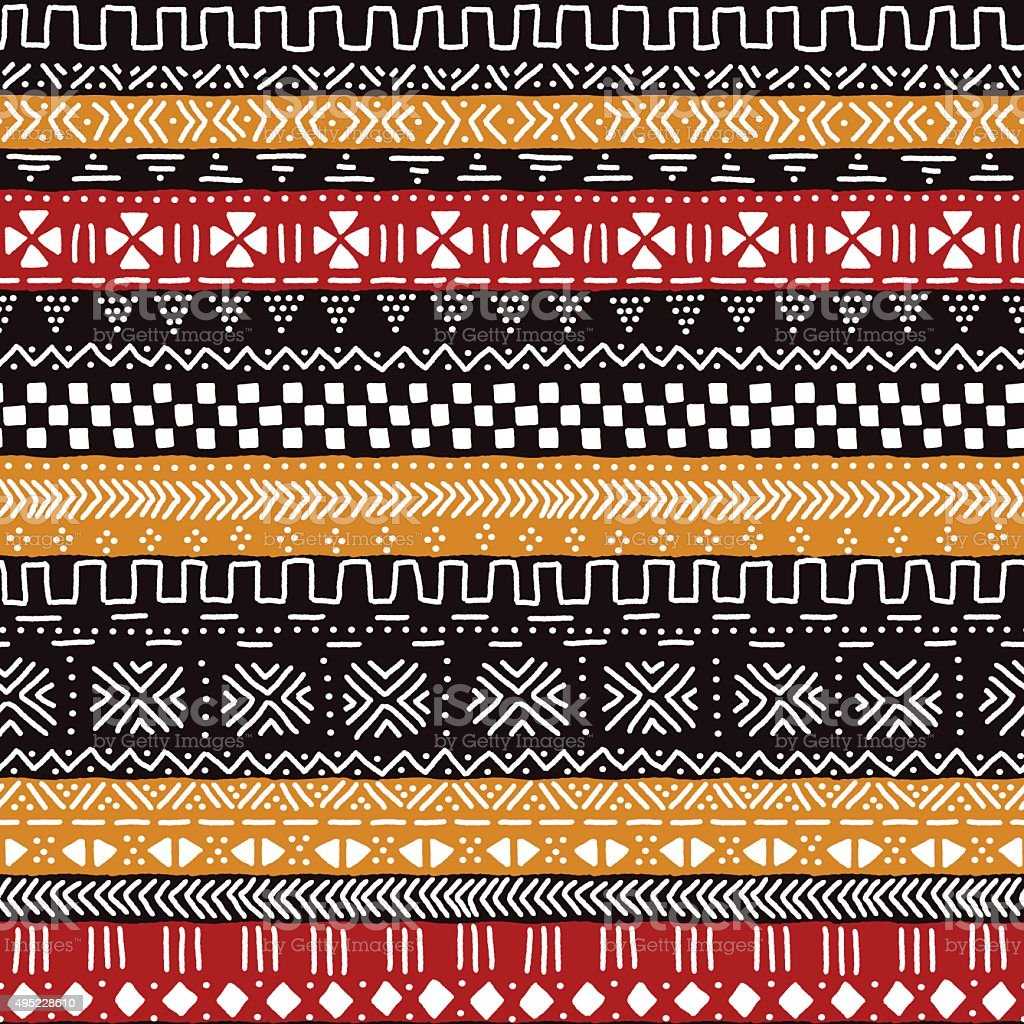 Black red yellow and white traditional african mudcloth fabric seamless vector art illustration