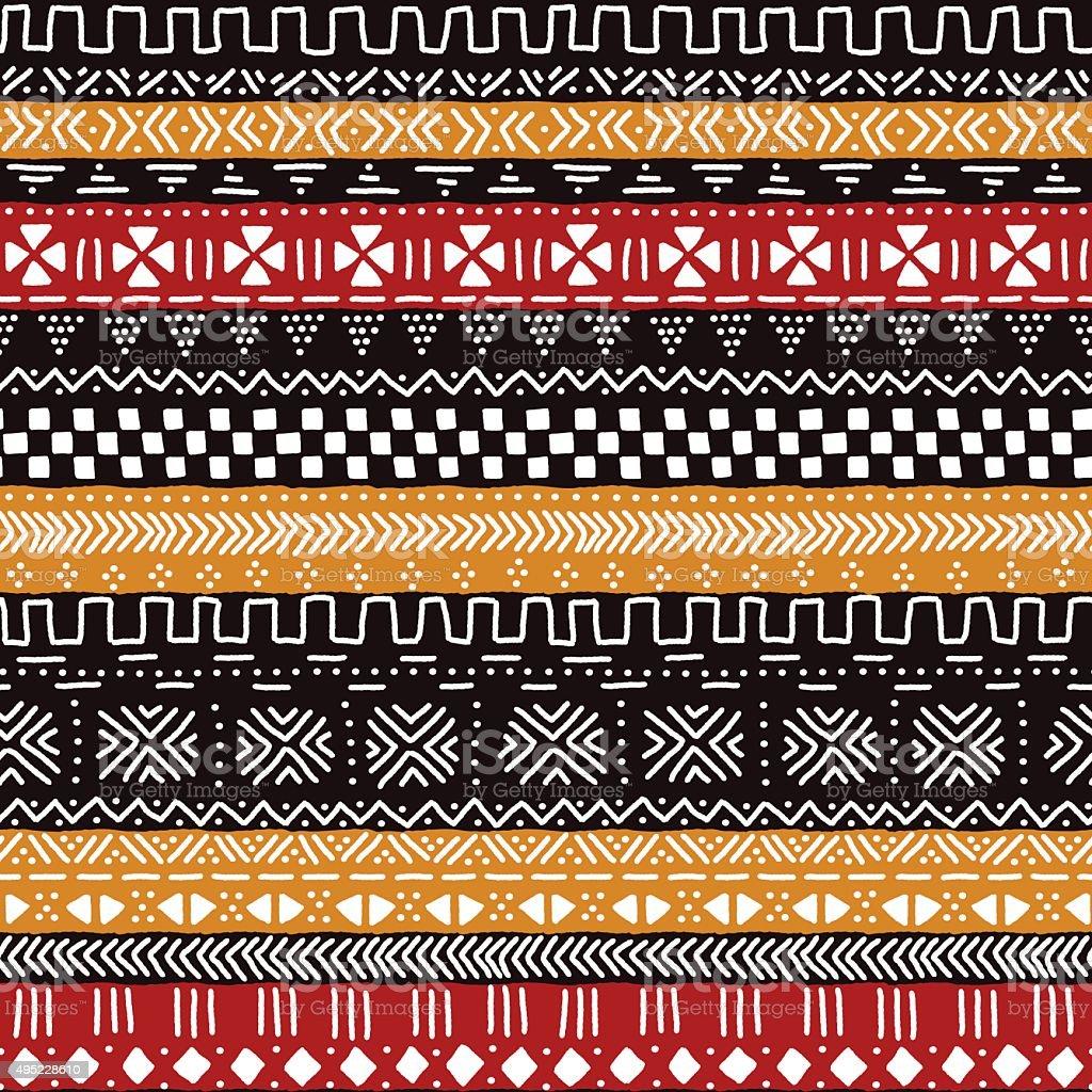 Preto Vermelho Amarelo e branco mudcloth africano tradicional Tecido sem costuras - ilustração de arte em vetor