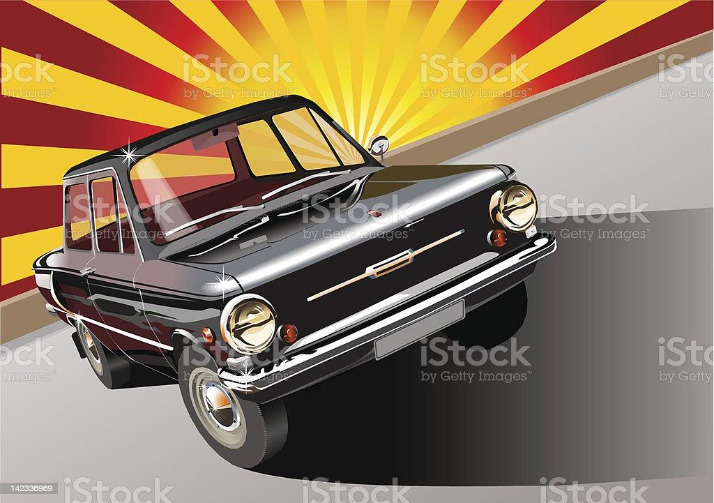Black retro car 60-s vector art illustration