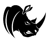 Angry black rhinoceros sign on white background.
