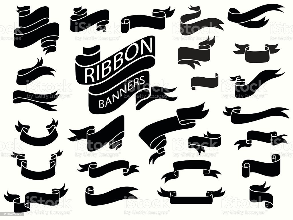 black ribbon banners design template stock vector art more images