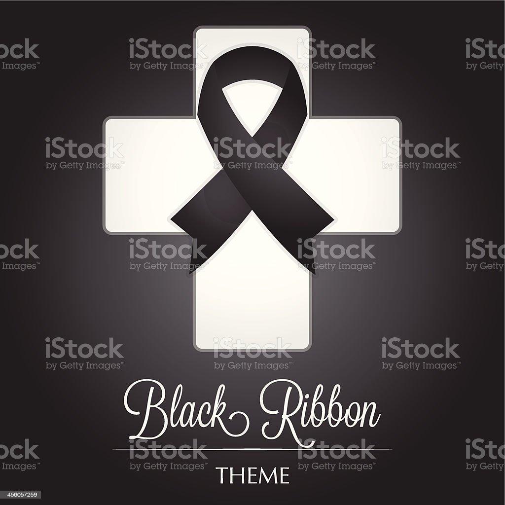 Black Ribbon Cross Theme royalty-free stock vector art
