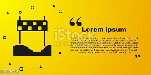 istock Black Ribbon in finishing line icon isolated on yellow background. Symbol of finish line. Sport symbol or business concept. Vector 1304090244