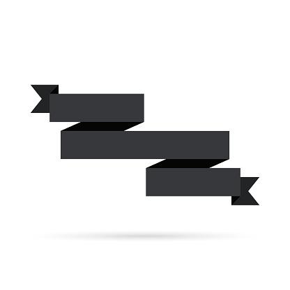 Black ribbon isolated on white background - Design Element