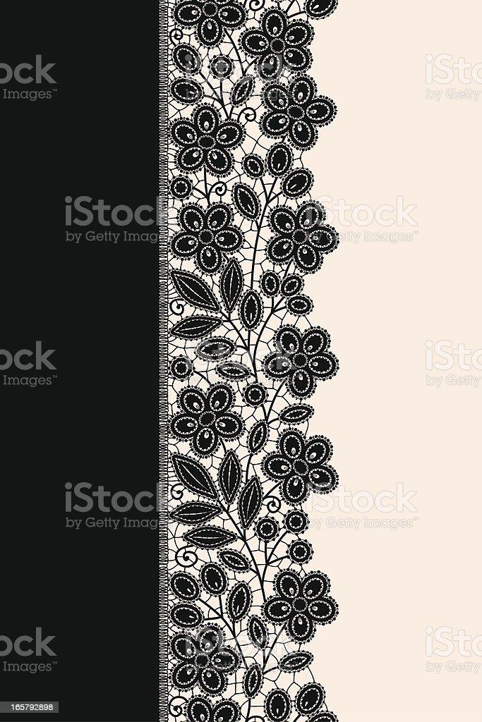 Black ribbon lace vertical seamless pattern. royalty-free stock vector art