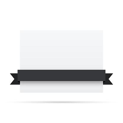 Black ribbon on blank white label - Design Elements