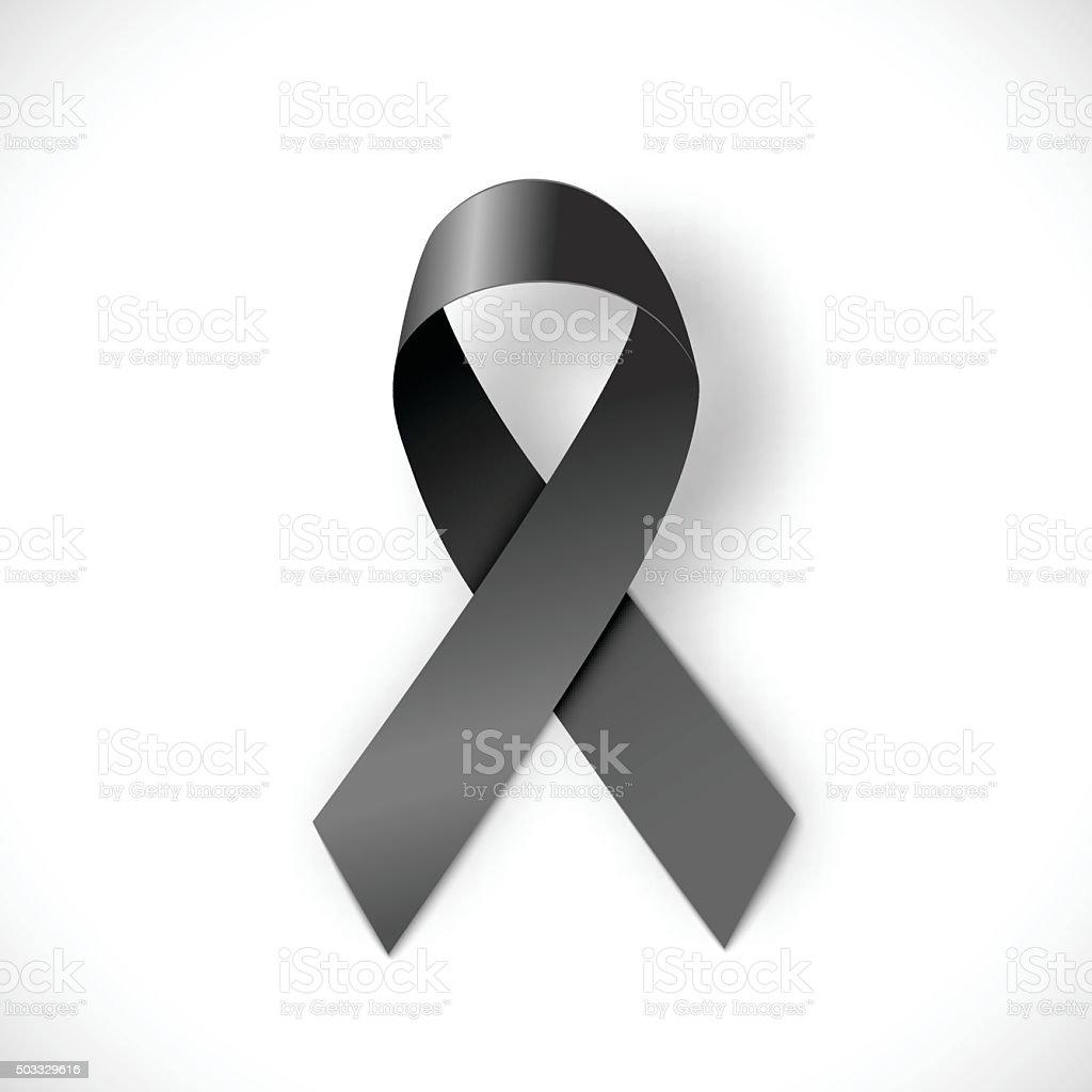 black ribbon  on white background, illustration vector art illustration