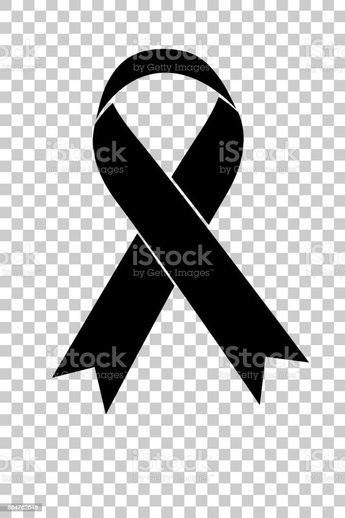 Black Ribbon Symbol For Sorrow Grief At Transparent Effect
